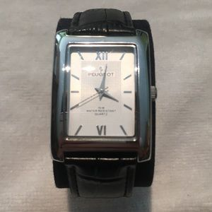 Peugeot Silver Black Crocodile Band Watch